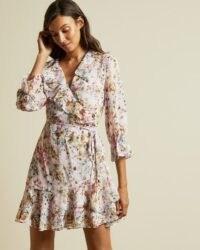 TED BAKER GRACYE Jasmine ruffle wrap dress / ruffled tie waist dresses