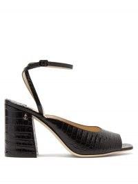 JIMMY CHOO Jassidy peep-toe crocodile-effect leather sandals / croc embossed chunky heeled sandal