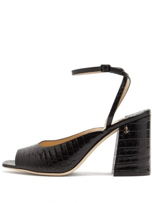 JIMMY CHOO Jassidy peep-toe crocodile-effect leather sandals / croc embossed chunky heeled sandal - flipped