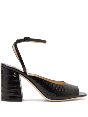 JIMMY CHOO Jassidy peep-toe crocodile-effect leather sandals / croc embossed chunky heeled sandal