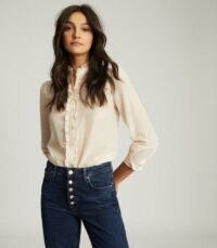Reiss JEMMA RUFFLE DETAILED BLOUSE BLUSH – frill trimmed blouses – essential tops for a feminine wardrobe