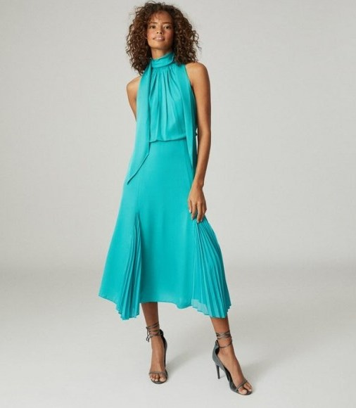 Reiss JENNA NECK-TIE DETAIL MIDI DRESS TEAL ~ front pleat detail ~ high tie neck occasion dresses - flipped