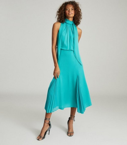 Reiss JENNA NECK-TIE DETAIL MIDI DRESS TEAL ~ front pleat detail ~ high tie neck occasion dresses