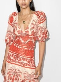 Johanna Ortiz Astral floral-print blouse orange / ecru – plunge front, open back blouses – printed tops