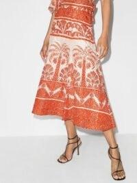 Johanna Ortiz Palm To Nadube pleated midi skirt in orange / ecru – tree prints – printed skirts