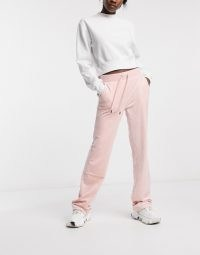 Juicy Couture super soft velour track pants in pale pink ~ jogging bottoms ~ drawstring joggers