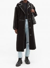 STAND STUDIO June patent-bound faux-shearling teddy coat ~ black textured winter coats