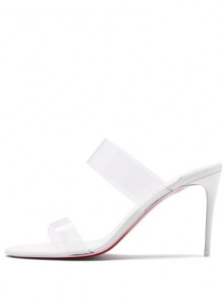 CHRISTIAN LOUBOUTIN Just Nothing 85 PVC-strap leather mules in white ~ clear strap mule ~ stilettoe heel transparent sandal - flipped