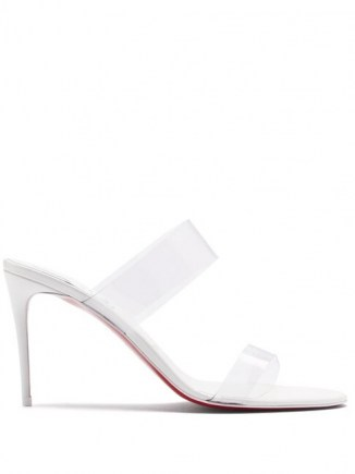 CHRISTIAN LOUBOUTIN Just Nothing 85 PVC-strap leather mules in white ~ clear strap mule ~ stilettoe heel transparent sandal