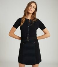 REISS KATE BELTED KNITTED DRESS NAVY / dark blue rib knit dresses