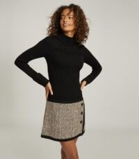 Reiss KELLY KNITTED DRESS WITH CONTRAST SKIRT BLACK ~ chic autumn wear
