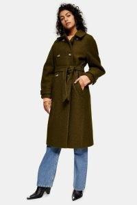 Topshop Khaki Boucle Trench Coat | dark green tie waist coats | autumn colours | fall outerwear