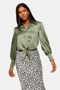 TOPSHOP Khaki Collar Satin Knot Front Top ~ green knotted waist shirts