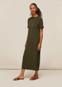 WHISTLES JERSEY LONGLINE DRESS KHAKI / effortless style clothing / green column dresses