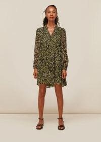 WHISTLES JUNGLE CAT TRAPEZE DRESS KHAKI / green long sleeve animal print dresses