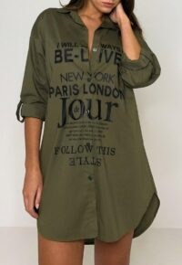 Missguided khaki printed roll sleeve shirt dress – dark green casual slogan print dresses