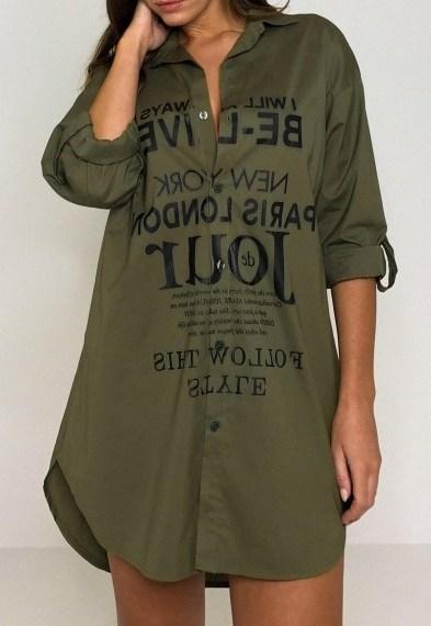 Missguided khaki printed roll sleeve shirt dress – dark green casual slogan print dresses - flipped