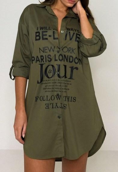 Missguided khaki printed roll sleeve shirt dress – dark green casual slogan print dresses