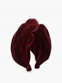 PRADA Knotted velvet headband in burgundy – plush headbands – hair accessories