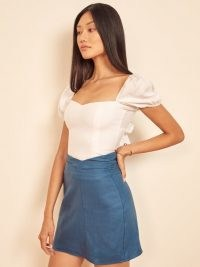 Reformation Koa Skirt in Azul | slim fitted mini skirts