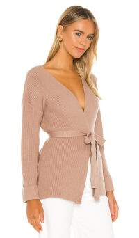 L'Academie Kori Wrap Sweater Taupe | luxe look knits