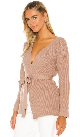L'Academie Kori Wrap Sweater Taupe   luxe look knits - flipped