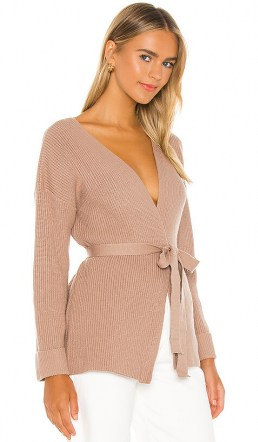 L'Academie Kori Wrap Sweater Taupe   luxe look knits