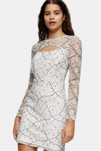 Topshop Lace Bodycon Cut Out Mini Dress | semi sheer going out dresses | fitted party fashion
