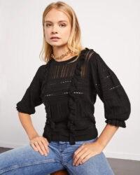JIGSAW LACE FRILL KNIT JUMPER BLACK – ruffled jumpers – feminine knitwear – frills