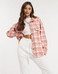 Lasula oversized brush check shirt in pink multi / relaxed checked shirts