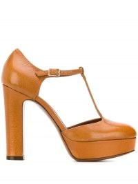L'Autre Chose Mary Jane heels – brown t-bar mary janes – vintage style platforms