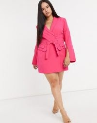 Lavish Alice Plus tie waist blazer dress in pink ~ plus size going out jacket dresses