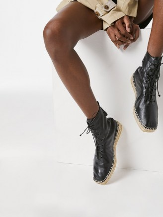 FRAME Le Boston Espadrille Noir | black leather jute sole boots