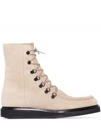 LEGRES College suede ankle boots in taupe ~ luxe lace up boots ~ autumn footwear