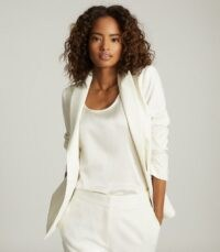 REISS LEIGH WOOL BLEND TUXEDO BLAZER WHITE ~ suit jackets ~ tailored single breasted blazers