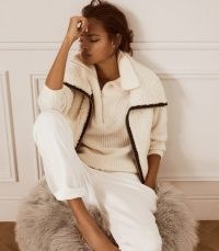 REISS LEILA SHEARLING GILET WHITE/BLACK / luxe gilets / luxury sleeveless jackets / autumn outerwear