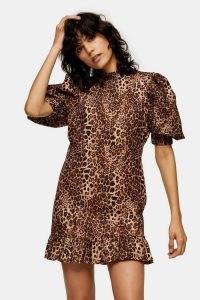 TOPSHOP Leopard Print Puff Sleeve Mini Dress / animal prints / frill hemline dresses