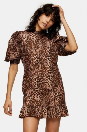 TOPSHOP Leopard Print Puff Sleeve Mini Dress / animal prints / frill hemline dresses - flipped