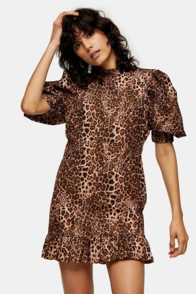 TOPSHOP Leopard Print Puff Sleeve Mini Dress / animal prints / frill hemline dresses
