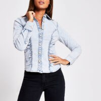 River Island Light blue denim long sleeve fitted shirt | gathered detail shirts
