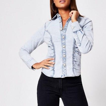 River Island Light blue denim long sleeve fitted shirt | gathered detail shirts - flipped