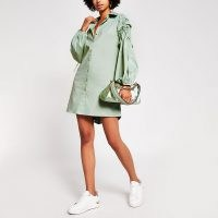 RIVER ISLAND Light green ruched sleeve shirt dress ~ gathered sleeved dresses