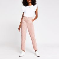 RIVER ISLAND Light pink tapered high rise jeans ~ denim