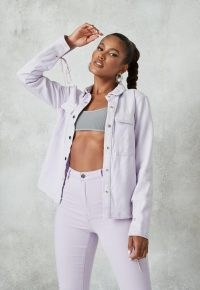 MISSGUIDED lilac co ord tie detail denim shirt ~ casual shirts ~ weekend co ords