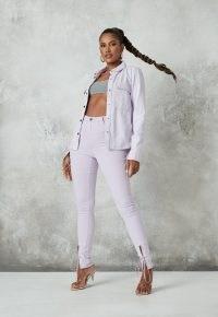 lilac co ord vice tie detail super skinny jeans ~ pastel denim ~ split hem skinnies with ties
