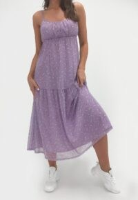 MISSGUIDED lilac floral tie strap cami midi dress ~ gathered bust dresses