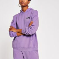 RIVER ISLAND Lilac pocket front oversized hoodie – logo hoodies
