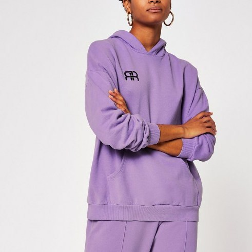 RIVER ISLAND Lilac pocket front oversized hoodie – logo hoodies - flipped
