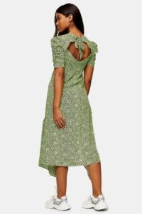 TOPSHOP Lime Green Animal Print Ruched Sleeve Midi Dress ~ open back vintage style dresses ~ draped hemlines