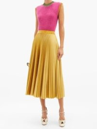 VALENTINO Logo-embroidered pleated velvet-jersey midi skirt in gold | skirts with a swish movement
